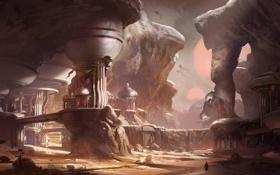 Картинка город, скалы, пустыня, Concept Art, Halo 5
