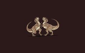 Обои юмор, драка, тиранозавр