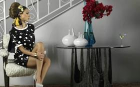 Картинка цветы, стиль, джессика альба, сидит, столик, Jessika alba
