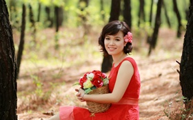 Картинка лес, девушка, цветы