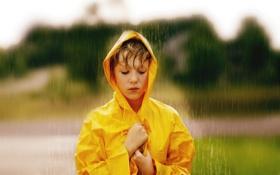 Обои дождь, настроение, девочка
