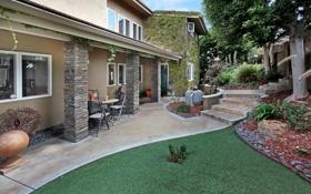 Картинка дизайн, ступеньки, дом, двор, кусты, особняк, деревья
