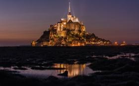Картинка замок, Франция, остров, вечер, крепость, Мон-Сен-Мишель, Mont Saint-Michel