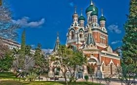 Обои Франция, храм, France, Ницца, Nice, Saint Nicholas Orthodox Cathedral, Собор святителя Николая Чудотворца