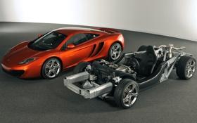 Обои оранжевый, фон, McLaren, суперкар, MP4-12C, передок, каркас