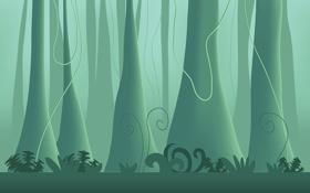 Обои джунгли, обои, леса, деревья, дерво, растения, минимализм