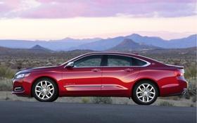 Обои Красный, Авто, Chevrolet, Седан, Шевроле, Impala, Вид сбоку