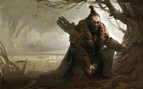 Картинка кровь, доспехи, Лес, лук, мужчина, водоем, охотник