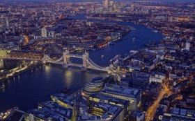 Картинка мост, река, Англия, Лондон, дома, панорама, Темза