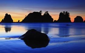 Обои закат, камни, скалы, деревья, небо, море