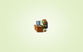 Обои стол, минимализм, стул, монитор, сидит, тролль, troll