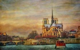 Обои река, Франция, Париж, корабль, Сена, холст, Собор Парижской Богоматери