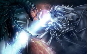 Обои магия, драконы, луч, арт, кулон, битва