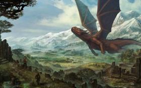 Обои горы, люди, дракон, арт, руины, гигантский