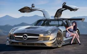 Картинка девушка, горы, Mercedes-Benz, серебристый, горизонт, AMG, SLS