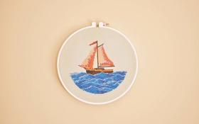 Обои море, вода, корабль, нитки, вышивка, канва
