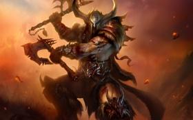 Обои metal, Diablo 3, Diablo, helmet, Barbarian, Armor, axes
