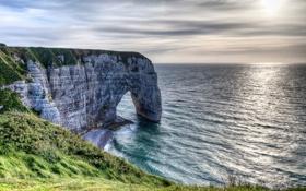 Картинка море, пляж, природа, скала, обрыв, берег, арка