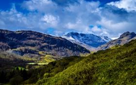 Обои ледник, долина, горы, Великобритания, Derbyshire, ущелье