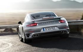 Обои 911, Porsche, поворот, Порше, вид сзади, Turbo, Турбо