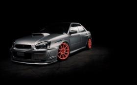 Обои фон, чёрный, тюнинг, Subaru, impresa