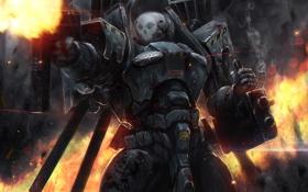 Обои skull, soldier, armor, heavy weapons, happy face