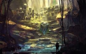 Картинка камни, фантастика, человек, арт, пещера, by k04sk, color test