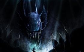 Обои темнота, монстр, колдун, посох, меч, клыки, когти