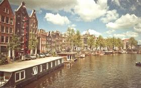 Обои солнце, лодки, Амстердам, канал, Amsterdam