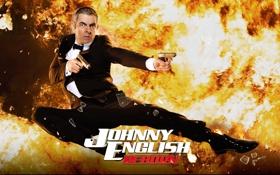 Обои пистолет, пламя, прыжок, Rowan Atkinson, смокинг, Роуэн Аткинсон, джонни инглиш перезагрузка
