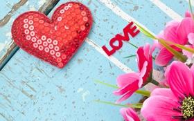 Обои romantic, любовь, heart, love, сердце, valentines, цветы