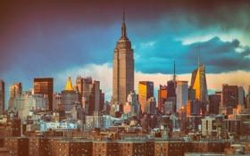 Обои облака, Нью-Йорк, крыши, Эмпайр-стейт-билдинг, Соединенные Штаты