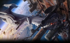 Картинка космос, Assault, планета, Alien Breed 2, столкновение, корабли