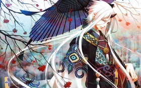 Картинка зонт, аниме, демон, белые волосы, кимано
