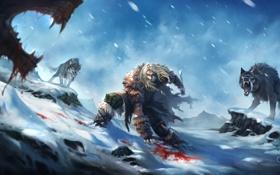 Картинка зима, снег, оружие, кровь, арт, нож, волки