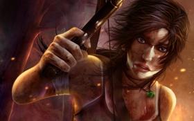 Обои девушка, пистолет, арт, кулон, lara croft, Tomb Raider Reborn