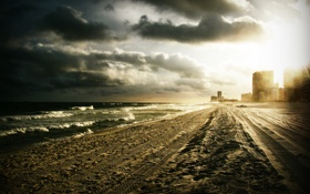 Обои следы, здания, небо, волны, море, город, пляж