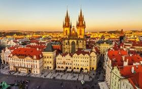 Картинка закат, дома, Прага, Чехия, площадь, панорама