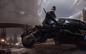 Обои тучи, город, меч, арт, очки, мотоцикл, мужчина