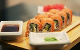 Обои суши, соевый соус, горчица, роллы, rolls, soy sauce, японская кухня