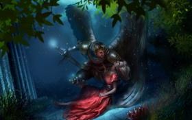 Картинка лес, крылья, меч, убийство, фэнтези, sword, fantasy