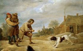Обои люди, картина, жанровая, David Teniers II, собвка, Farmboy with a Dog