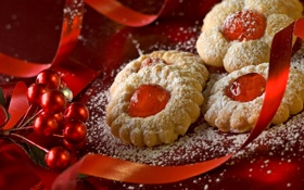 Обои украшения, ленты, праздник, еда, печенье, Новый год, Happy New Year