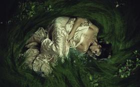Картинка трава, девушка, отражение, ягоды