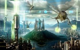 Картинка облака, город, будущее, река, остров, здания, пчелы