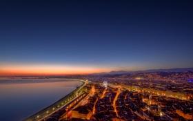Картинка море, вода, свет, ночь, огни, фото, города