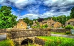 Картинка дорога, облака, деревья, мост, улица, Англия, дома