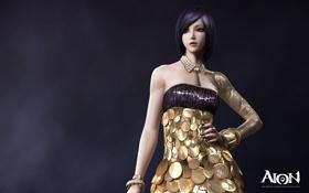 Картинка девушка, украшения, рендеринг, фон, надпись, платье, aion