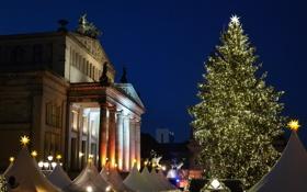 Обои Германия, площадь, Рождество, Берлин, ярмарка, Жандарменмаркт