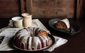 Обои чай, кофе, пирог, торт, cake, ваниль, глазурь